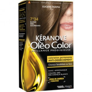 Перманентная крем-краска для волос Keranove Oleo Color №7*34 (золотисто-медный блондин)